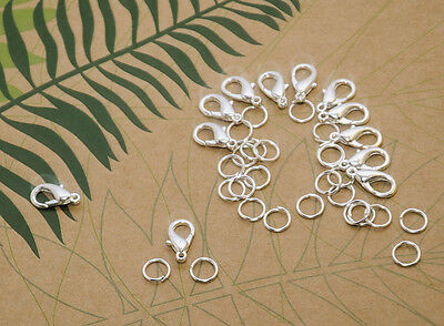 Jewellery findings 12 x 15 mm lobster clasp  24 x 6 mm jump rings silver alloy