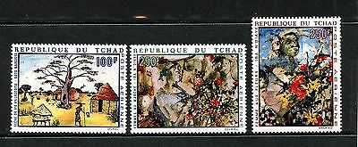 Chad #C61-C63 (CH623) Complete 1970 Village Life by Goto Narcisse issue, MNH,FVF