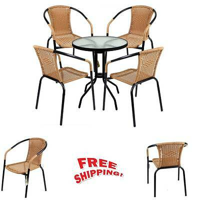 Garden Rattan Bistro Sets 5 Pcs Glass Table 4 Wicker Chairs Metal Outdoor Patio