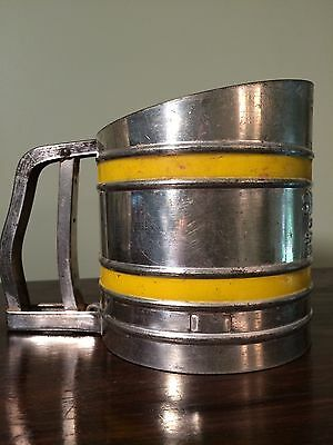 Vintage Stainless Steel Yellow Foley Sift-Chine Flour Sifter