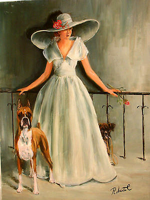 Boxer with lady  dog art print matted