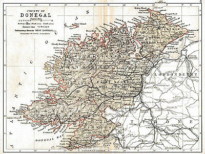 3 maps of County Donegal & Ireland, dated 1840 & 1897 & an Ulster fact sheet.