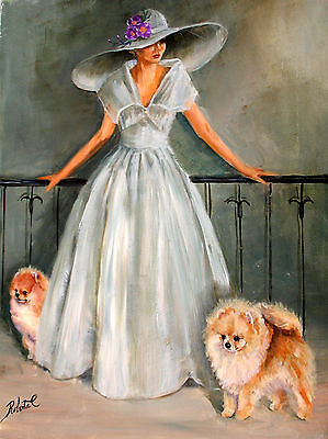Pomeranian with lady limited edition print dog print with double designer mat