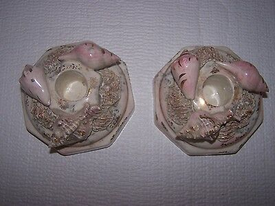 Vintage Signed Russel-Leidy Porcelain Candle Holders w/ Sea Shells