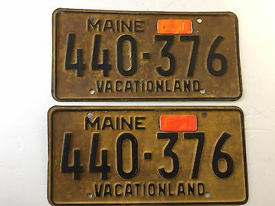 1956 With 1961 Tabs Maine License Plate Vacationland
