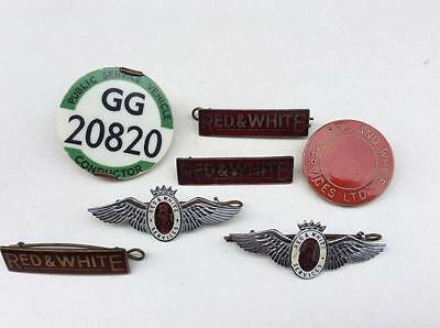 Job Lot of Red & White Services Bus Enamel Badges - Wings / Conductor etc