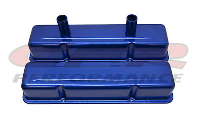 Blue Stamped Aluminum Tall Circle Track Valve Covers For 58-86 Chevy Sb 283 305