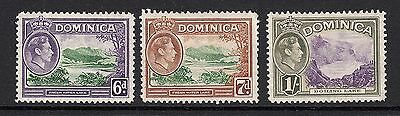 Dominica: GVI Definitives SG. 105/105a/106 - 3 x Stamps to 1/-  MM (S33)