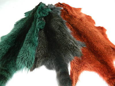 Tanned Green Raccoon Fur Skin Pelt Dyed Design With Tail