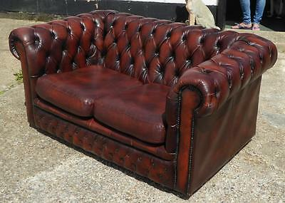 Brown Leather two seater chesterfield