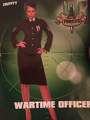 Fancy Dress Womens Forties 40's Wartime Officer Army Soldier Ladies size 12-14
