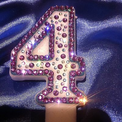4th Fourth Birthday (four) CANDLE Diamante Purple Princess Frozen Party FREEPOST