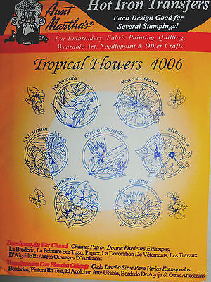 "Aunt Martha's Hot Iron Transfer # 4006 "" Tropical Flowers"""