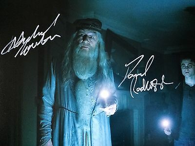 (Harry Potter) Gambon & Radcliffe Original Hand signed photo 12x8 with COA