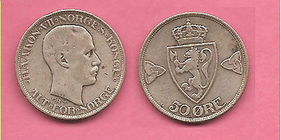 Norway 1912 silver 50 ore coin. *Scarce date*.