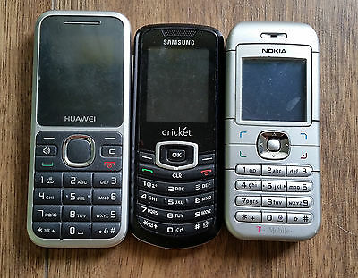 Lot Of 3 Old Cell Phones (Nokia, Samsung, Huawei) UNTESTED FOR PARTS REPAIR