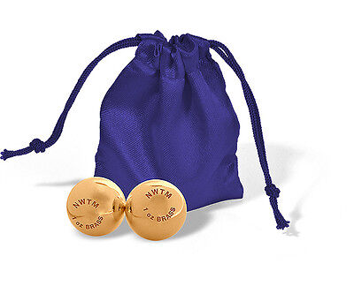PAIR OF SOLID BRASS BALLS 2 x 1 OZ EACH WITH SILK PURSE BULLION GIFT