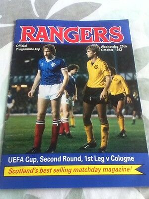 Rangers v Cologne Match Programme, UEFA Cup 2nd Round 20 October 1982