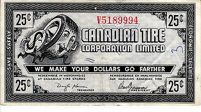 Canada Canadian Tire Gas  Bar Serif Serial Number 25 Cents  V5189