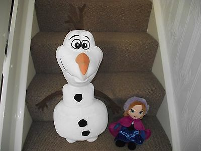 "Disney Frozen Toy Bundle. Huge 25"" Olaf and 12"" Anna Plush Soft Toys"