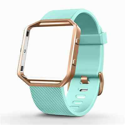 TURQUOISE Small Wristband Strap Band Bracelet + ROSE GOLD Frame FITBIT BLAZE New