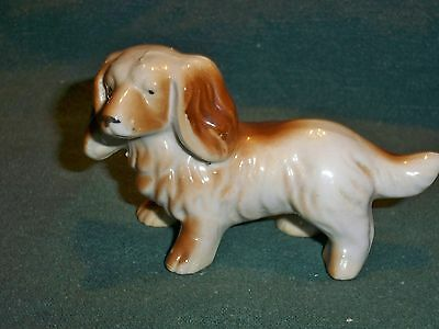 Vintage Brown and White Cocker Spaniel Dog Ceramic Figurine