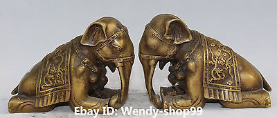 """7"""" Chinese Fengshui Bronze Auspicious Carving Dragon Animal Elephant Pair Statue"""