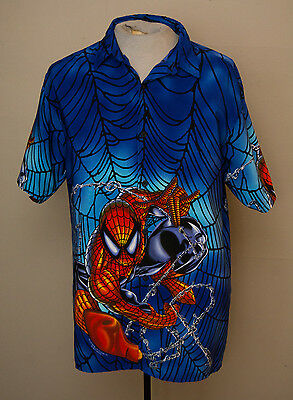 Spiderman Mens Button Up Print Shirt Sz Large Marvel 2001 Collar Short Sleeve
