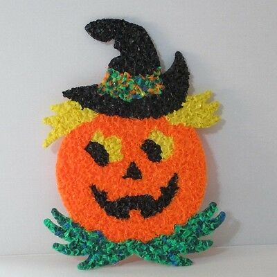 """Halloween Melted Popcorn Pumpkin Scare Crow 16 1/2"""" Hand Made in America"""
