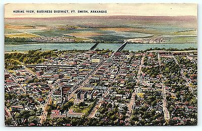 Postcard AR Fort Smith Airview of Business District Vintage Linen