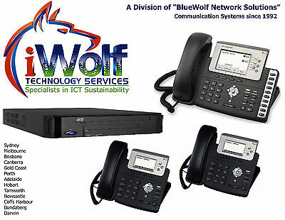 Telephone System Starter KIT5. 4 IP Phones PSTN E1 T1 BRI ISDN VoIP iW3230SSD