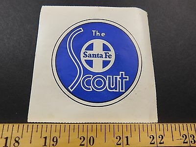 1940s-50s Santa Fe The Scout Railroad Train Travel Luggage Label Sticker