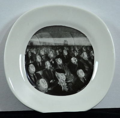 "Chas ADDAMS FAMILY 8"" Plate FESTER LAUGHING at a HORROR MOVIE"
