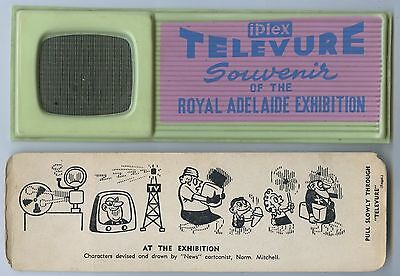 1963 Royal Adelaide Exhibition Televure Novelty Plastic Souvenir Moving Pic  A74