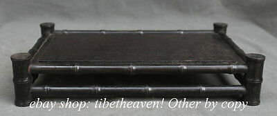 """12"""" Old Chinese Ebony Wood Bamboo Carved Dynasty Desk Table Plate Pallet Tray"""