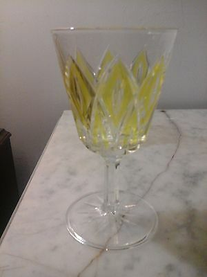 Vintage Stem Ware Wine Glass Cut Diamond with Yellow Small Cordial Drink