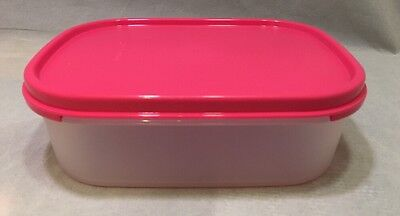 New Tupperware Mini Rectangles Modular Mates Clear Container W/ Pink Punch Seal
