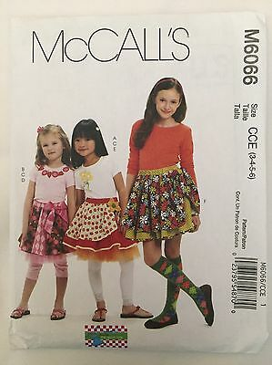 McCalls Sewing Pattern  6066. Girls Skirts And Leggings Sizes 3-6. Uncut.
