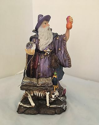 Reading Spell Wizard With Crystal Ball Figurine Statue Ornament Skull
