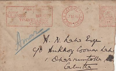 India Early Cover With Meter Franking Advertisement Loyeds Bank Cover Internally