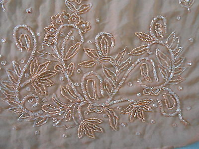 Vintage Trims Lace Ribbon Border Glass Bead Embroidered Fragment Pink India F2