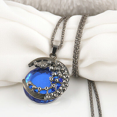 Fashion Women Crystal Moon Retro Long Pendant Sweater Chain Necklace Jewelry