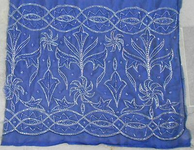 Vintage Trims Lace Ribbon Border Glass Bead Embroidered Fragment Dark Blue F5