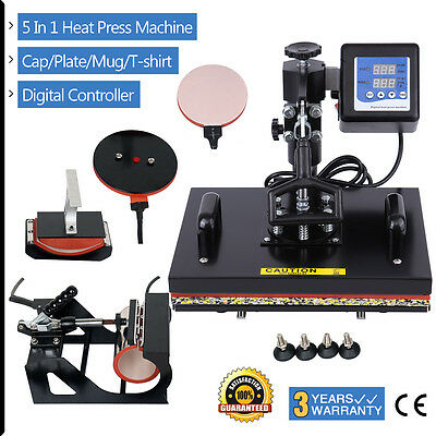 Multifunction T-Shirt Cup Hat Plate 5 in 1 Heat Press Transfer LCD Timer Control