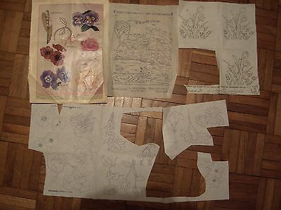 Miscellaneous collection of vintage iron on embroidery transfers