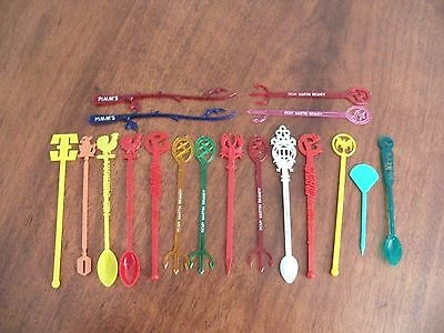 18 x assorted swizzle sticks Remy Gilbeys Pimms vintage drink stirrers