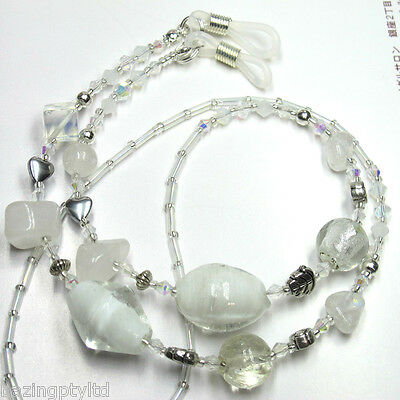 White & Clear Crystal Glasses Spectacles Eyeglass Holder Cord Chain Strap Leash