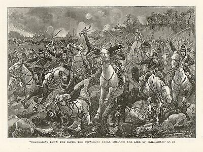 Antique Print, France, Battle Of Sedan, French Cavalry Charge 1870
