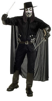Licensed V for Vendetta Mens Fancy Dress Halloween Adults Movie Costume Outfit
