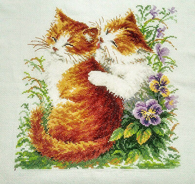 """New Completed finished cross stitch needlepoint""""Lovely Two Cats""""Decor Gifts"""